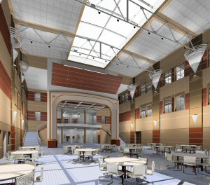 Click to see Student Commons during the day and completed Schematic Design